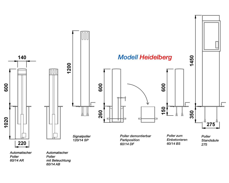 Elektrischer poller heidelberg 60 14 - Schranke nach mass ...